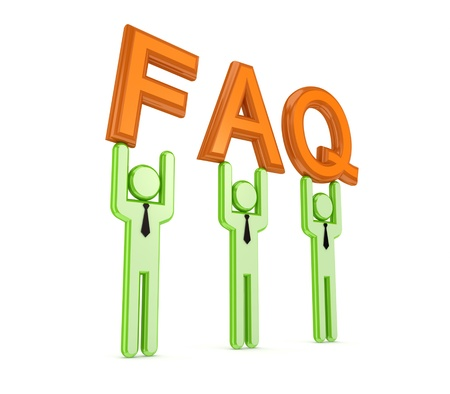 3d small people with a word FAQ in a hands Stock Photo - 14072753