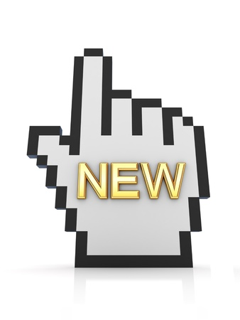 gazette: Golden word NEW and large cursor  Stock Photo