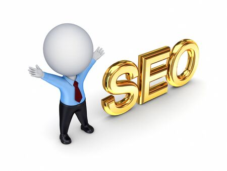 3d small person with a word SEO  photo