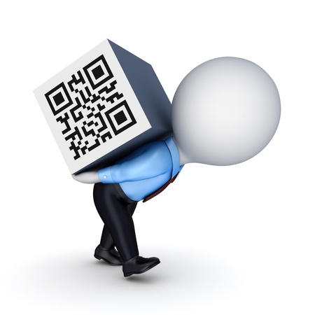 passcode: 3d samll person and QR code  Stock Photo