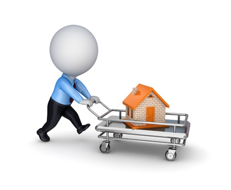 sold small: 3d person with a shopping trolley and small house