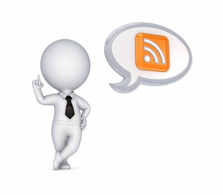 rss: 3d small person and RSS symbol
