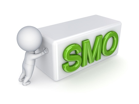 3d small person pushing a word SMO  photo