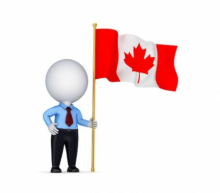 canadian flag: 3d small person with canadian flag