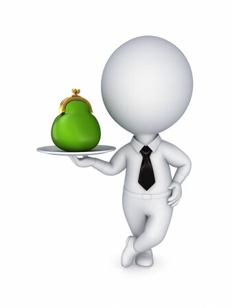 3d small person with a green purse  Stock Photo - 14072107