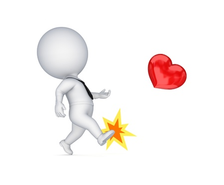 3d small person kicking a red heart  Stock Photo - 14072126