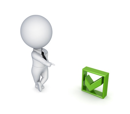 3d small person and green tick mark Stock Photo - 14072182