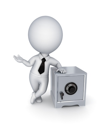 3d small person and iron safe Stock Photo - 14072317