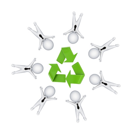 3d small people around recycle symbol  Stock Photo - 14072872