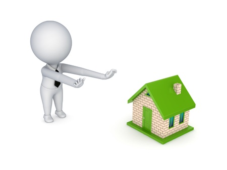 sold small: 3d person pulling hands to small house  Stock Photo