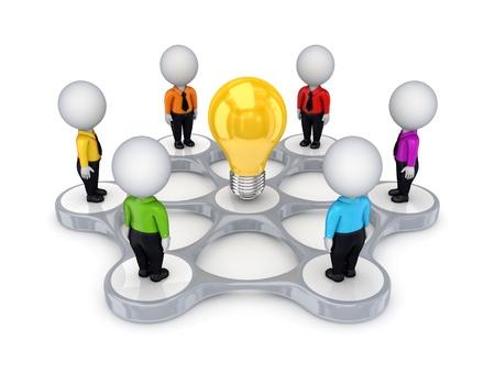 3d small people around idea symbol