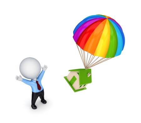 3d small person and colorful parachute  photo