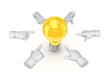 3d hand cursors around idea symbols  photo