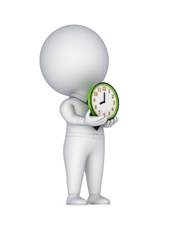 3d small person with a colorful clock in a hands  photo