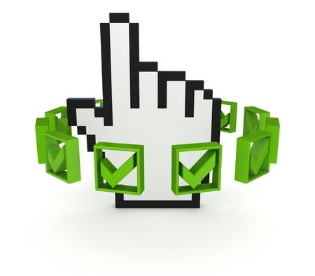 Green tick marks around large cursor  Stock Photo - 14072655