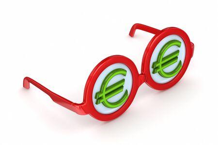 round glasses: Gafas redondas con el signo euro Foto de archivo