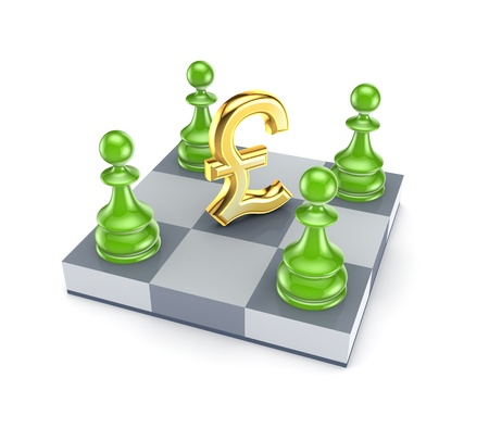 common market: Green pawns around pound sterling sign  Stock Photo