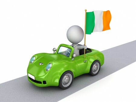 irish pride: 3d small person on orange car with Hungarian flag