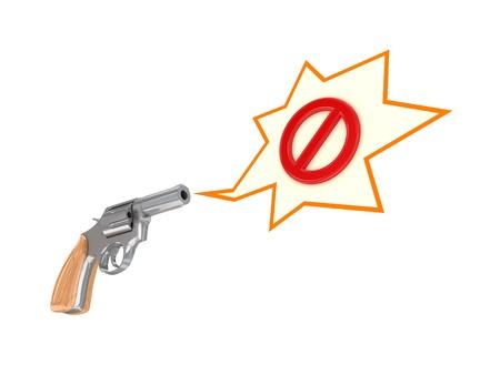 Revolver and stop symbol  photo