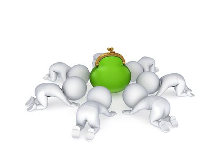 3d small people around green purse Stock Photo - 14071632
