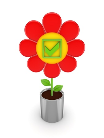 Cute flower with a green tick mark  photo