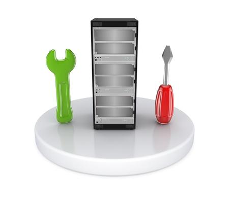 usługodawcy: Wysokie szczegółowe serwer i symbol wsparcia