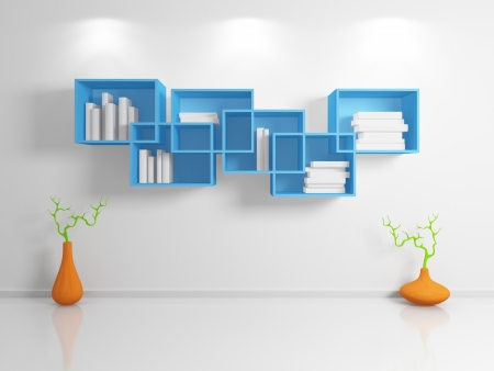Modern bookshelf  Stock Photo - 14097518