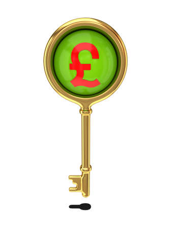 Golden key with a pound sterling sign  photo