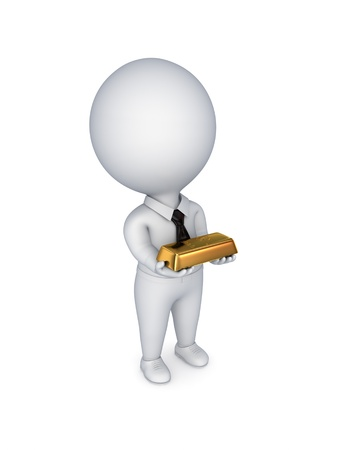 3d small person with a  golden bar in hands