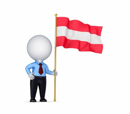 3d small person with an Austrian flag in a hand  photo