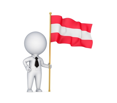 austrian: 3d small person with an Austrian flag in a hand  Stock Photo