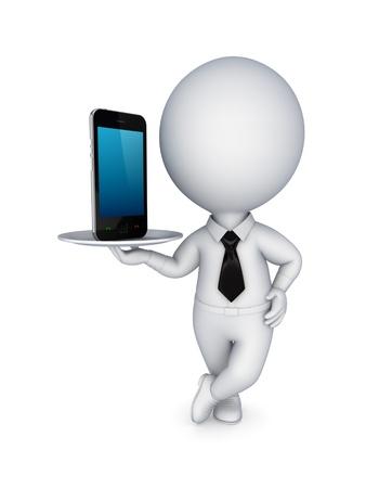 petit bonhomme: 3d personne de petite taille avec un t�l�phone mobile moderne