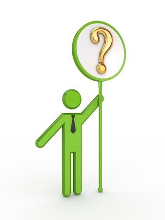 questionail: 3D personas peque�as con el s�mbolo de la consulta