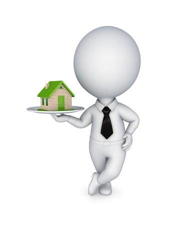 sold small: 3d persona tirando le mani per piccola casa