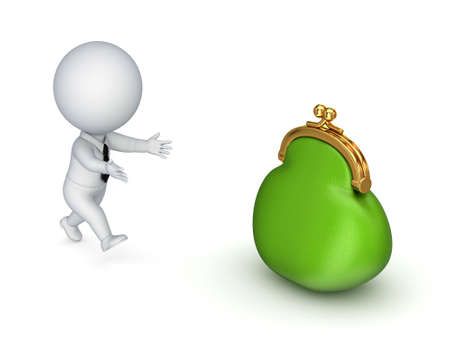 3d small person running to a green purse Stock Photo - 14097505