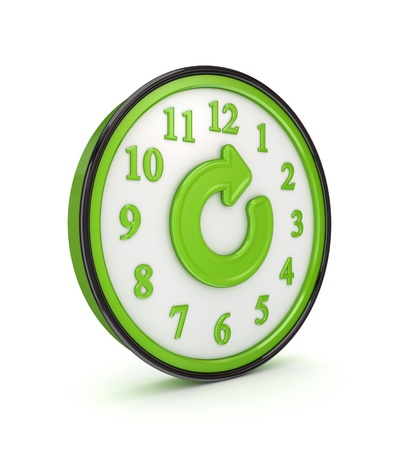 Refresh icon on a green watch Stock Photo - 14097633