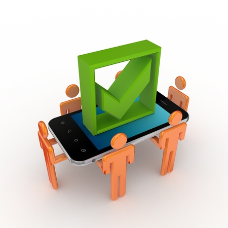 3d small people, mobile phone and green tick mark  photo