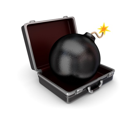 Stylized bomb in a suitcase  photo