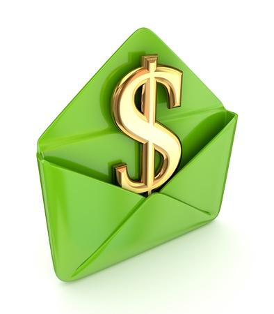 koperty: Znak dolara w zielonej kopercie