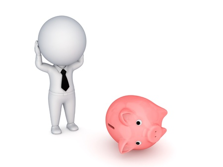 Stressed 3d small person and piggy bank photo