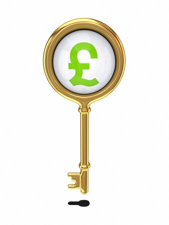 Golden key with a pound sterling sign  Stock Photo - 14380101