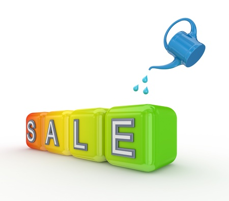 bailer: Blue bailer and colorful cubes with a word SALE  Stock Photo