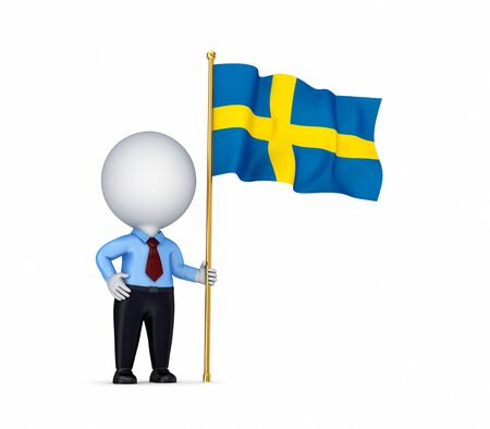 3d small person with a swedish flag  photo