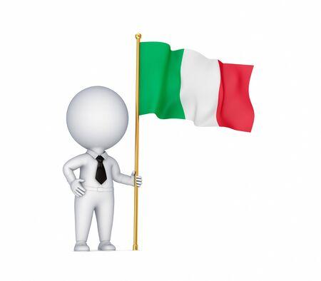 italien flagge: 3D kleine Person mit einer italienischen Flagge in einer Hand