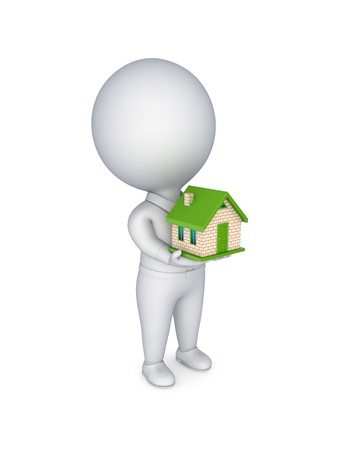 3d person with a small house in a hands  photo