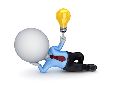metal light bulb icon: 3d small person with an idea symbol
