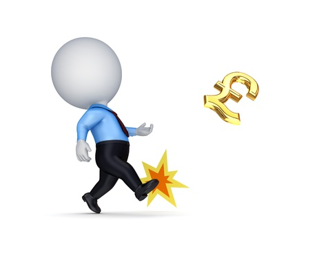 3d small person kicking a golden dollar sign  photo