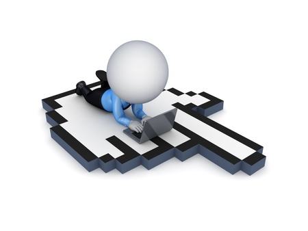 3d small person lying on a large cursor Stock Photo - 14380091