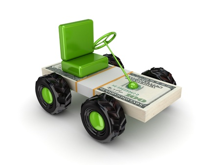 Stylized small car made of dollars pack  photo