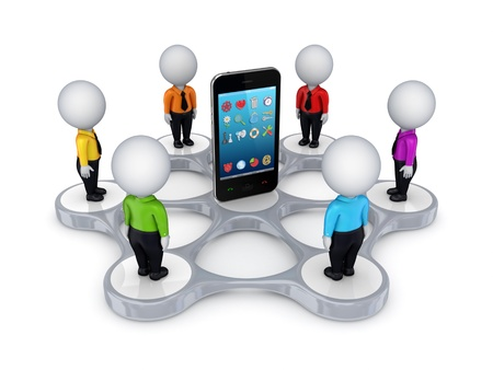 3d small people around mobile phone